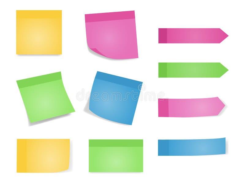 Notas pegajosas Grupo de folhas da cor de papéis de nota Vector a ilustração das lista de papel com cor diferente e sombra ilustração do vetor