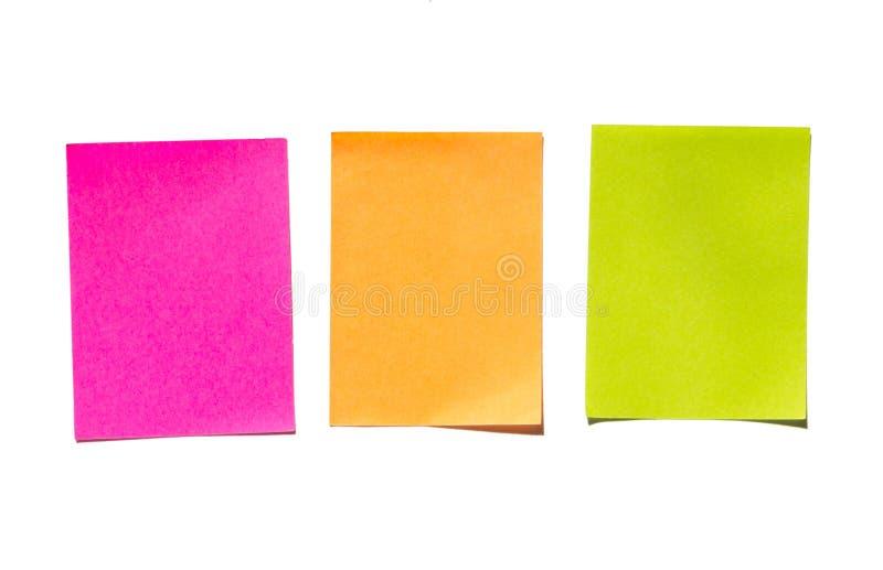 Notas pegajosas Nota del palillo o de los posts de la nota fotografía de archivo libre de regalías