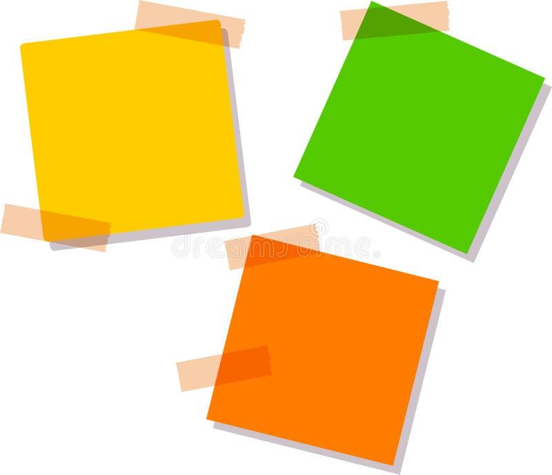 Notas pegajosas, nove cores diferentes, ilustração do vetor ilustração do vetor