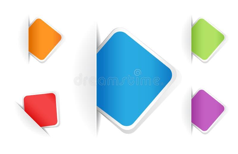 Notas quadradas arredondadas coloridos do vetor ilustração do vetor