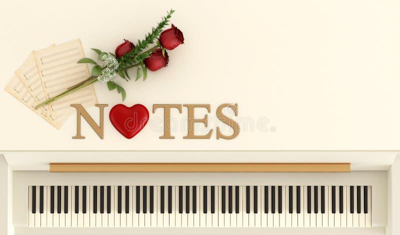 Notas románticas ilustración del vector