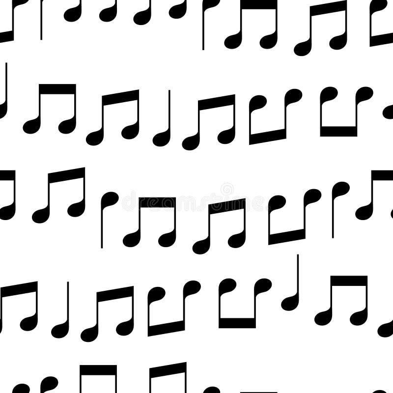 Notas simples de la música en el modelo inconsútil blanco y negro, vector libre illustration