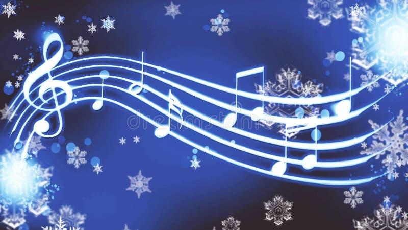 Notas sobre un fondo azul con melodía del invierno de los copos de nieve libre illustration
