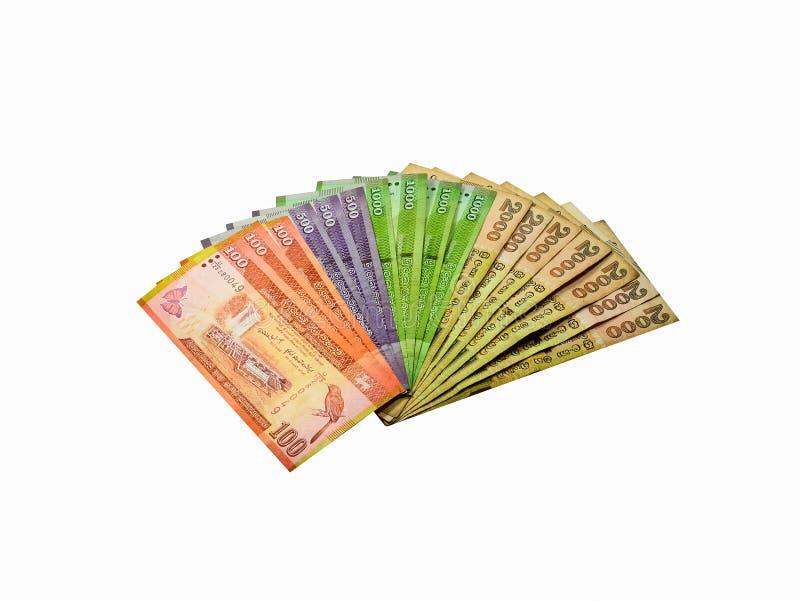Notas srilanquesas de la rupia de la moneda imagenes de archivo