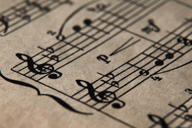 Notas velhas da música imagem de stock