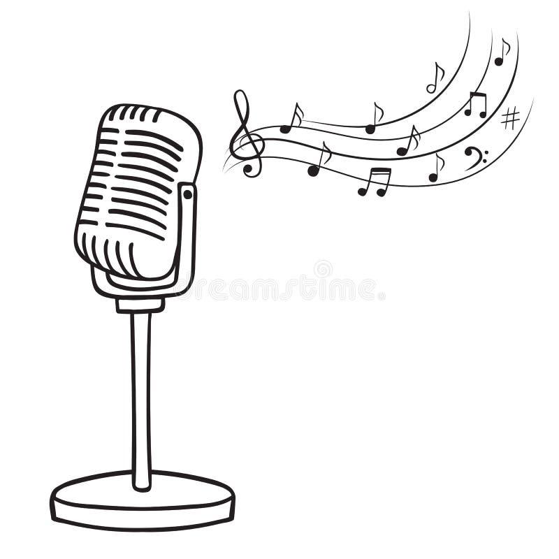 Notas velhas do microfone e da música ilustração royalty free