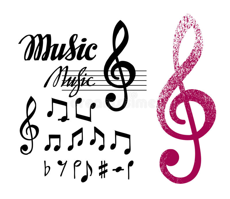Notas y clave de sol Sistema de elementos o de iconos del diseño de la música stock de ilustración