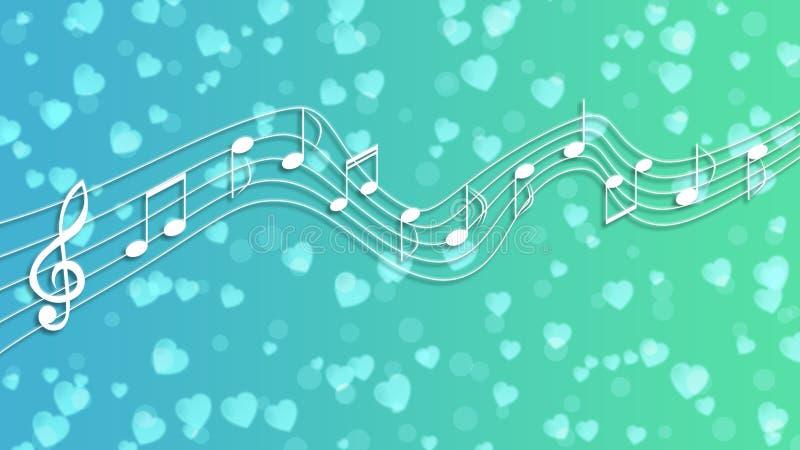Notas y corazones blancos de la música en fondo azul y verde ilustración del vector