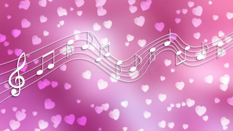 Notas y corazones blancos de la música en fondo rosado borroso stock de ilustración