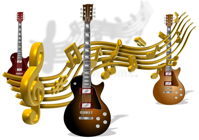 Notas y guitarras de la música stock de ilustración