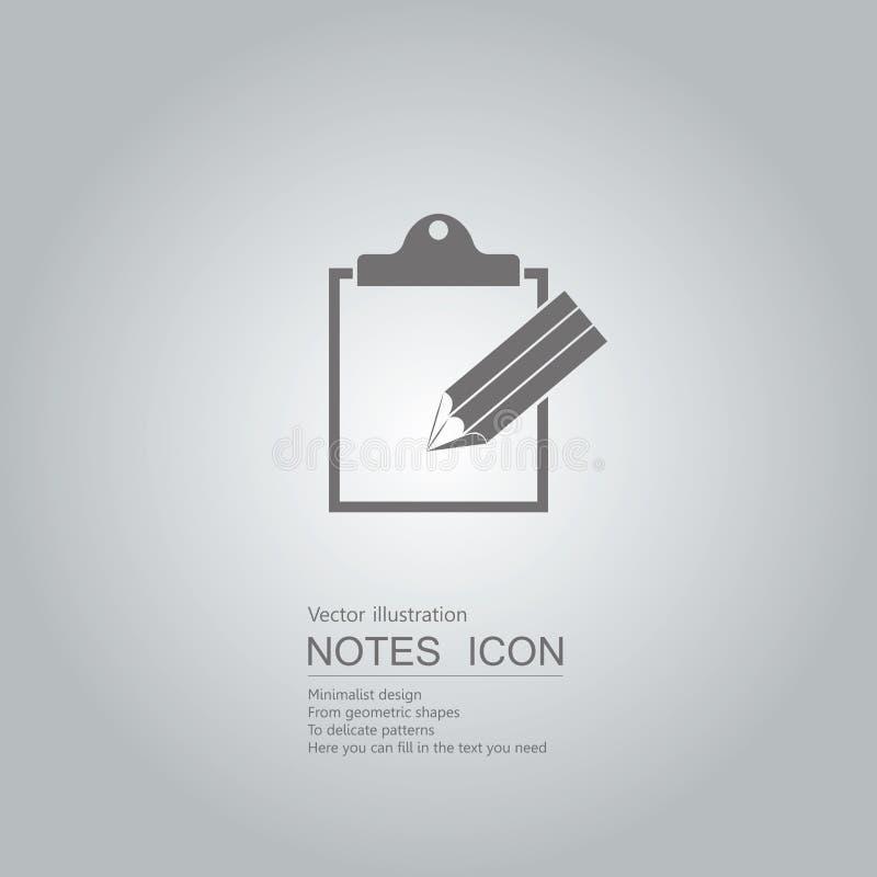 Notas y lápiz pegajosos ilustración del vector