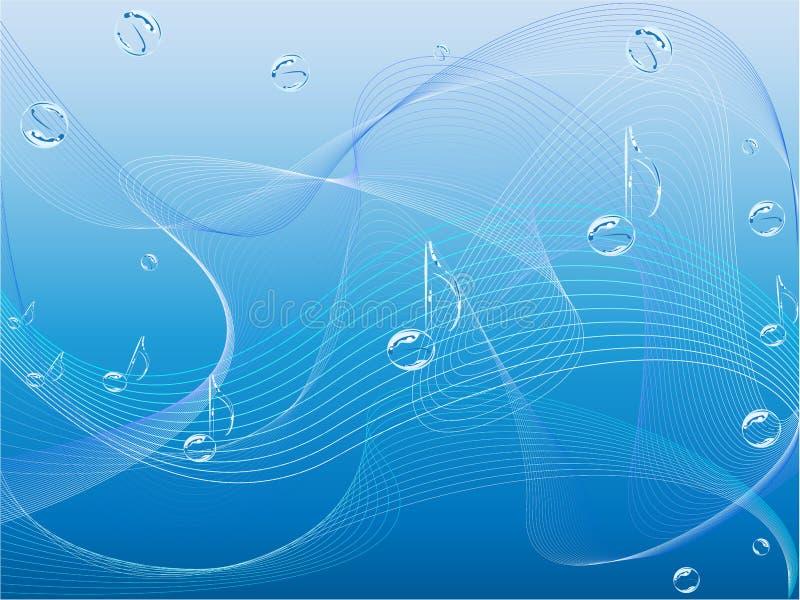 Notas y ondas de la música ilustración del vector