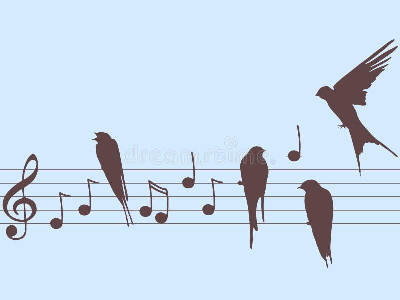 Notas y pájaros de la música del vector ilustración del vector