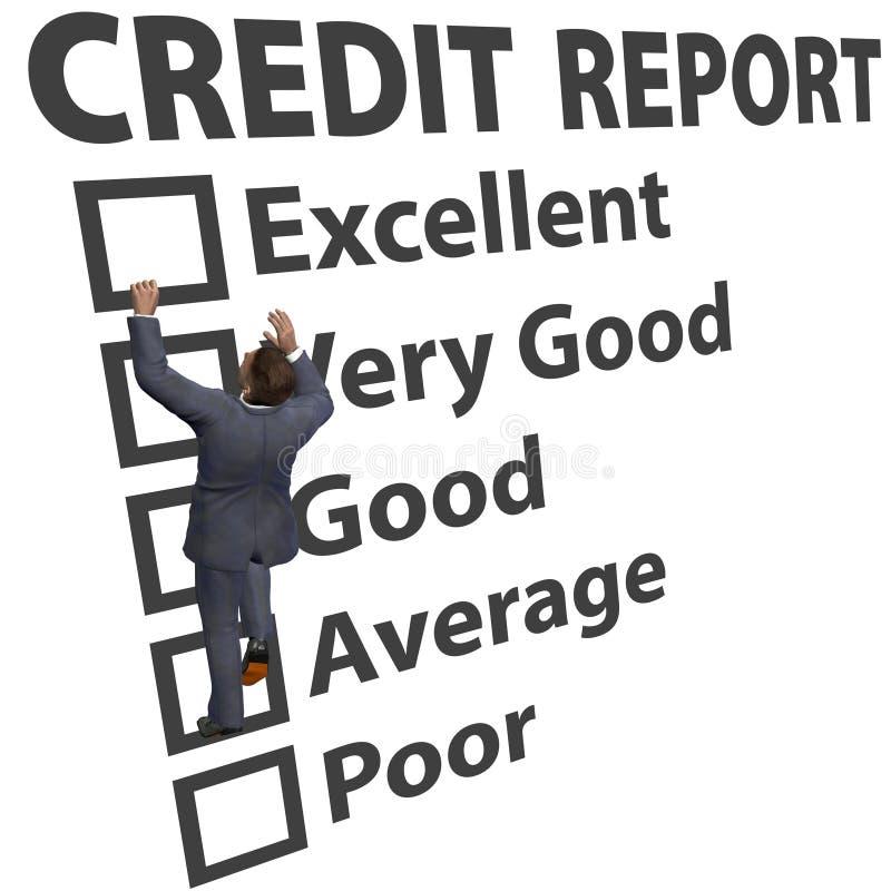 Notation de rayure de crédit de construction d'homme d'affaires vers le haut illustration de vecteur
