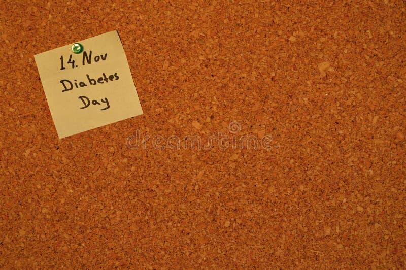 Notatka 'Światowy cukrzyca dzień' zdjęcie stock