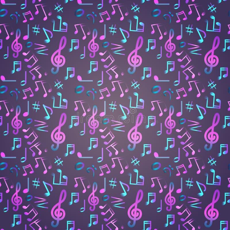 Notatka Bezszwowego Deseniowego Muzycznego sztandaru Kolorowy Nowożytny Muzykalny plakat ilustracji