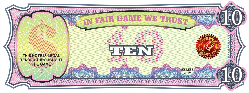 Notatka dla ekonomicznej gry 10 dolarów ilustracji