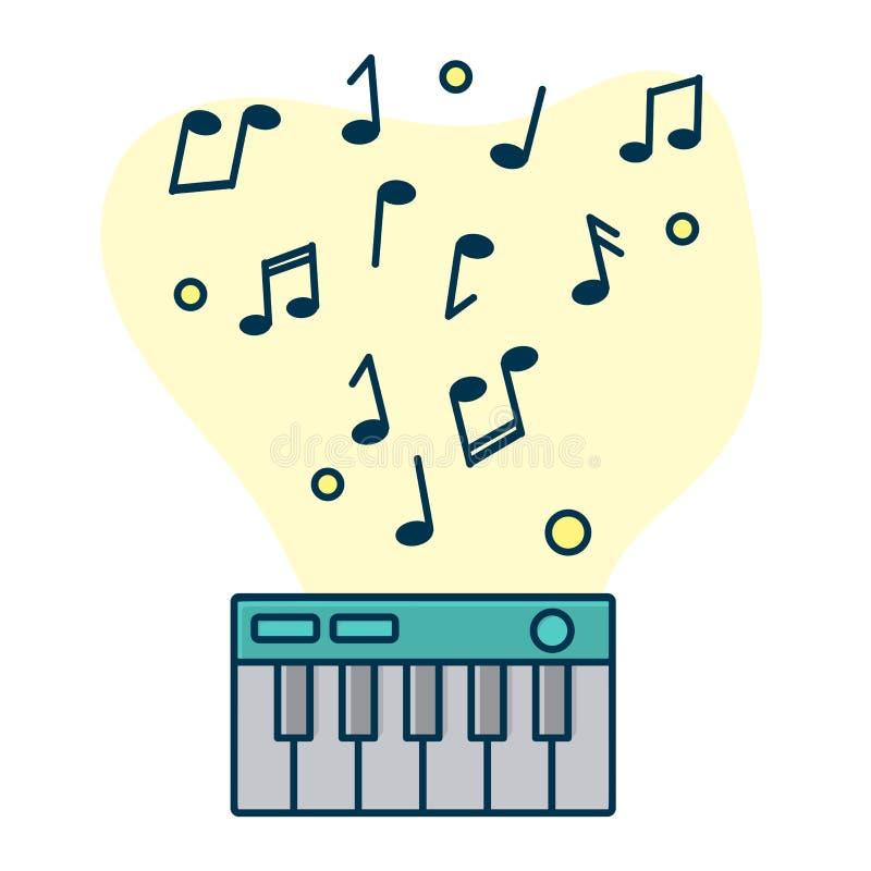 Notatka przepływ od cyfrowego pianina Pojęcie muzyczny bawić się ilustracji