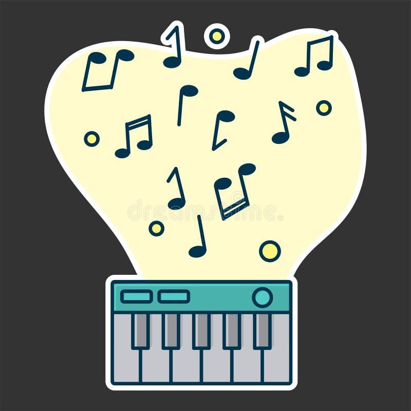 Notatka przepływ od cyfrowego pianina Pojęcie muzyczny bawić się ilustracja wektor