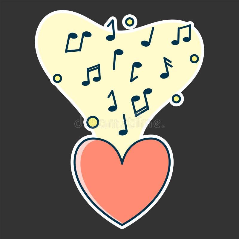 Notatka przepływ od czerwonego serca Pojęcie muzyczny bawić się ilustracji