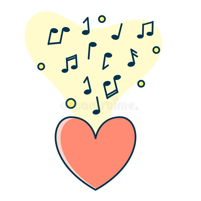 Notatka przepływ od czerwonego serca Pojęcie muzyczny bawić się royalty ilustracja