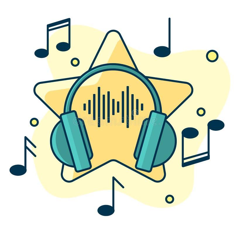 Notatka przepływ od hełmofonów Pojęcie muzyczny bawić się ilustracji
