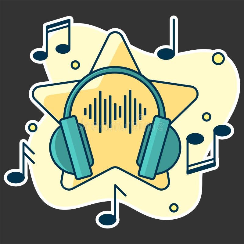 Notatka przepływ od hełmofonów Pojęcie muzyczny bawić się royalty ilustracja