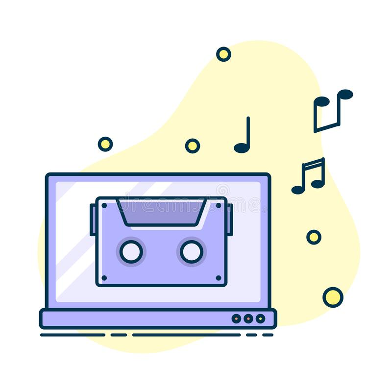 Notatka przepływ od laptopu Pojęcie muzyczny bawić się ilustracja wektor
