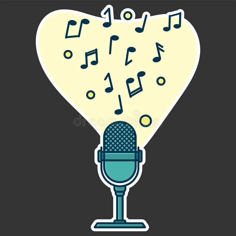 Notatka przepływ od mikrofonu Pojęcie muzyczny bawić się ilustracja wektor