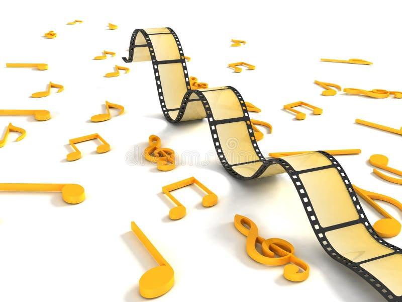 notatki rolka muzykalna negatywna rolka trzy ilustracja wektor