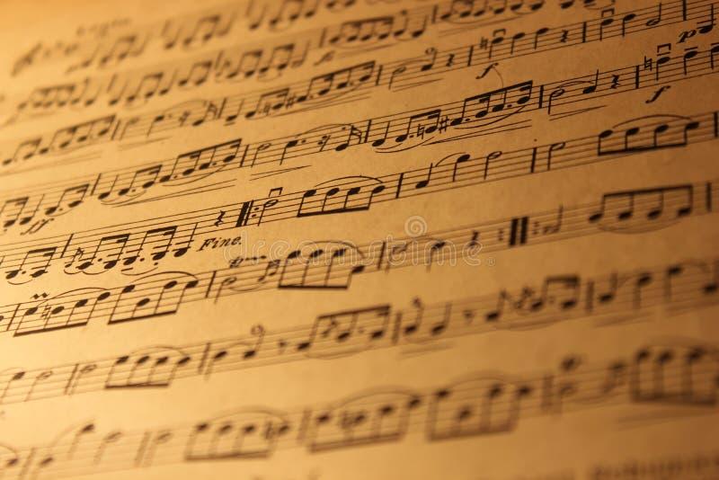 Notatki stara muzykalna strona zdjęcie royalty free