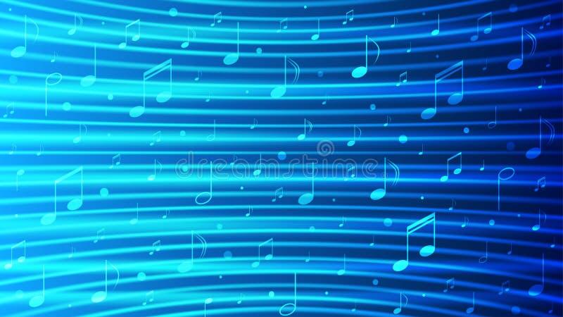 Notatki wektorowe muzyki w niebieskim tle z błyszczącą teksturą krzywych obraz royalty free