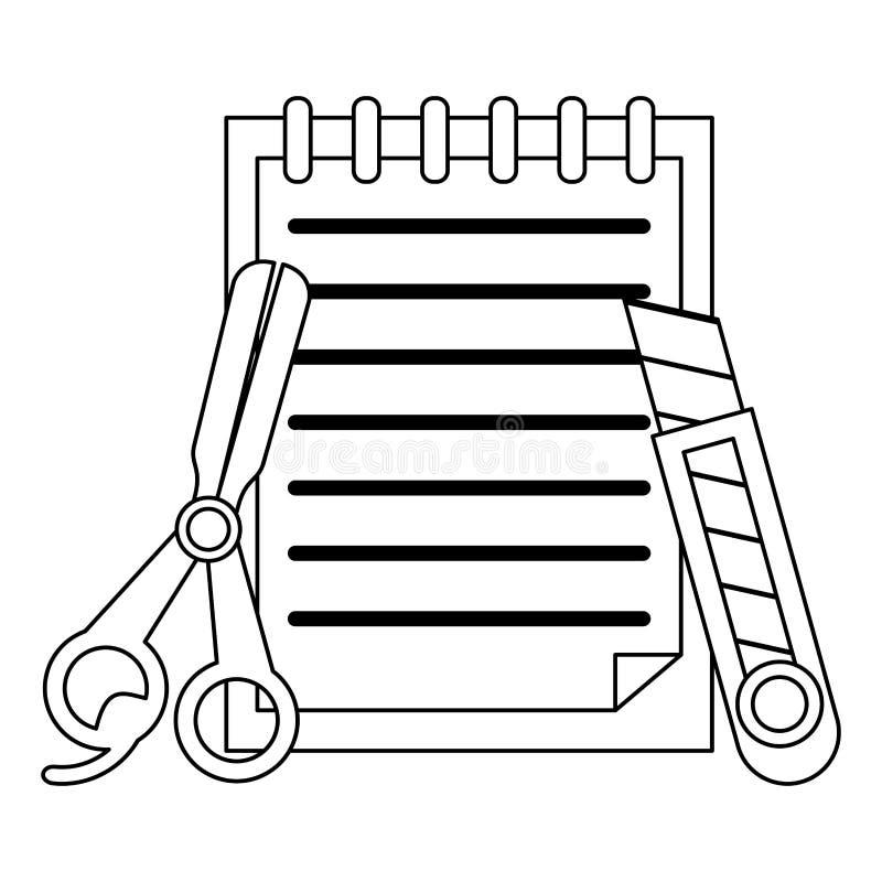 Notatki z nożycami i skalpelem czarny i biały ilustracji