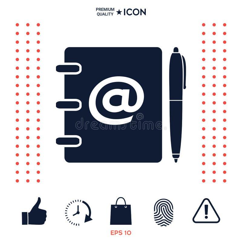 Notatnik, adres, telefon książka z emaila symbolem i pióro ikona, royalty ilustracja