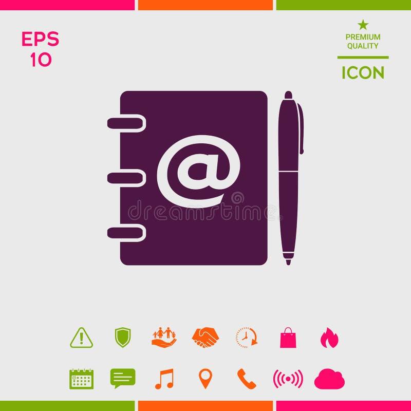 Notatnik, adres, telefon książka z emaila symbolem i pióro ikona, ilustracja wektor