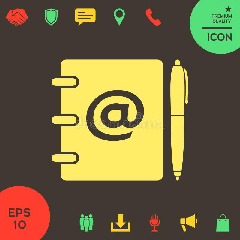 Notatnik, adres, telefon książka z emaila symbolem i pióro ikona, ilustracji