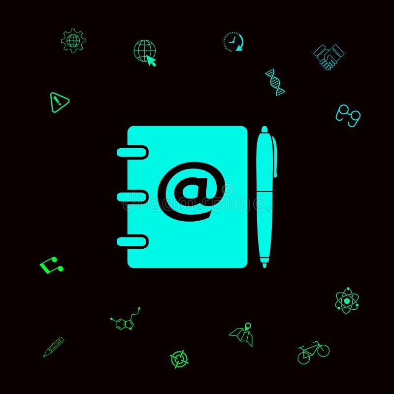 Notatnik, adres, telefon książka z emaila symbolem i pióro ikona, Graficzni elementy dla twój designt ilustracji