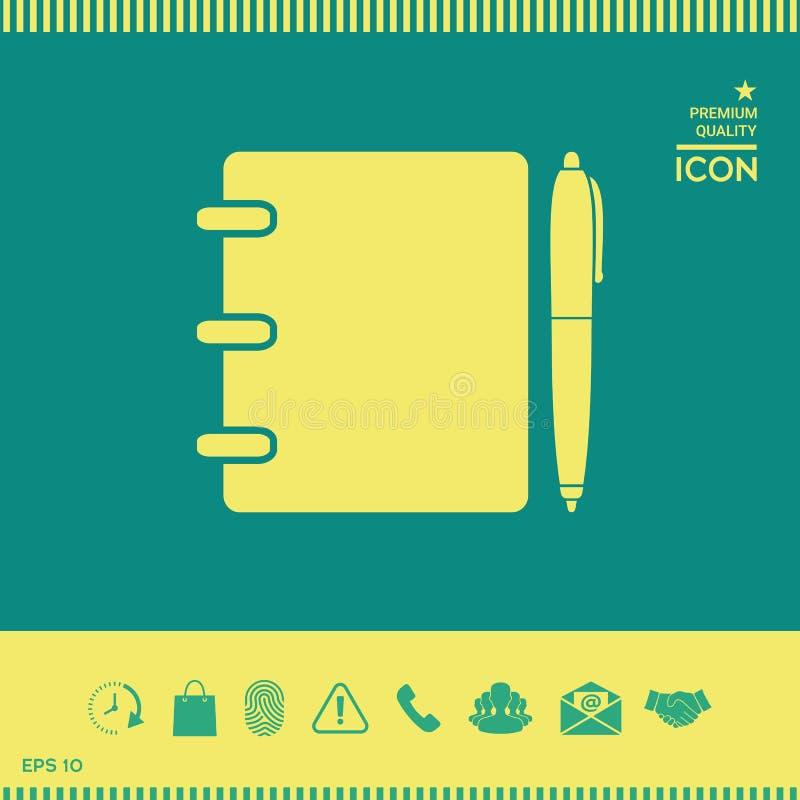 Notatnik, adres, telefon książka z pióro symbolu ikoną ilustracja wektor