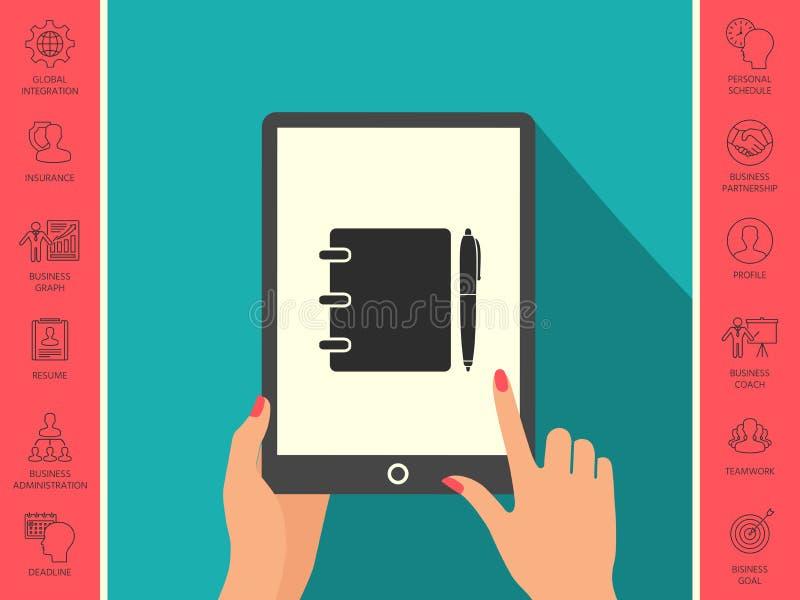 Notatnik, adres, telefon książka z pióro symbolu ikoną ilustracji