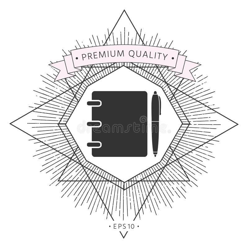 Notatnik, adres, telefon książka z pióro symbolu ikoną royalty ilustracja
