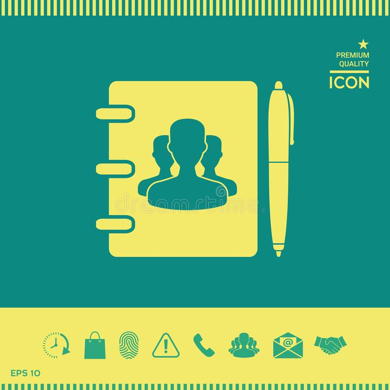 Notatnik, adres, telefon książka z symbolem grupowi ludzie i pióro ikona, ilustracji