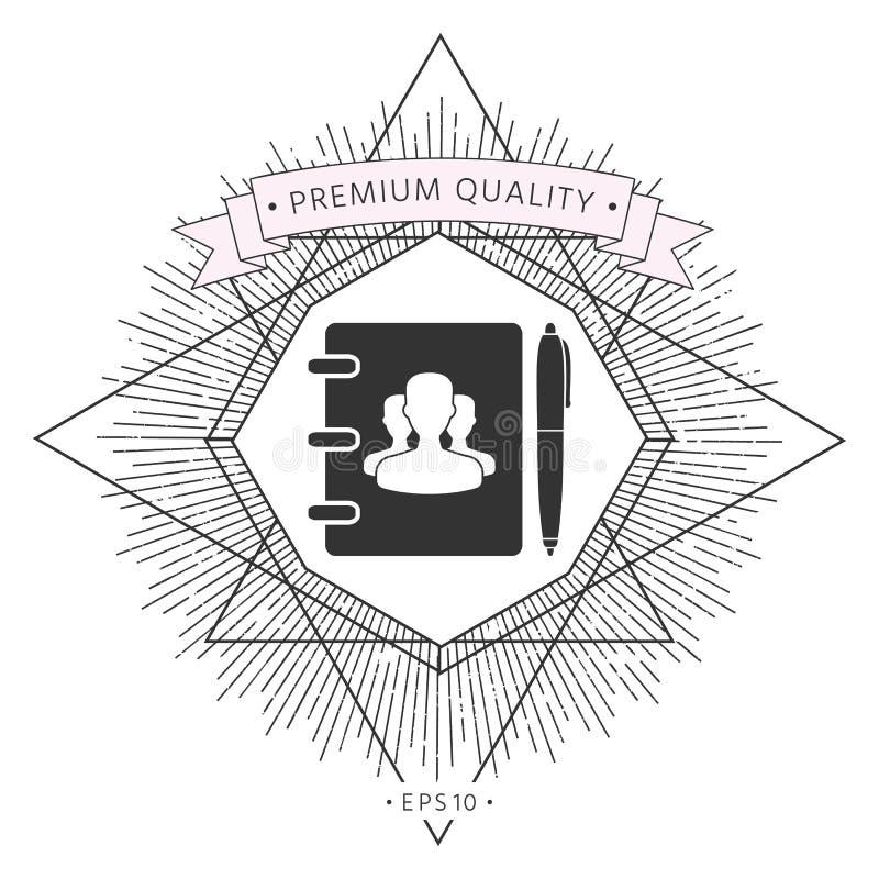 Notatnik, adres, telefon książka z symbolem grupowi ludzie i pióro ikona, ilustracja wektor