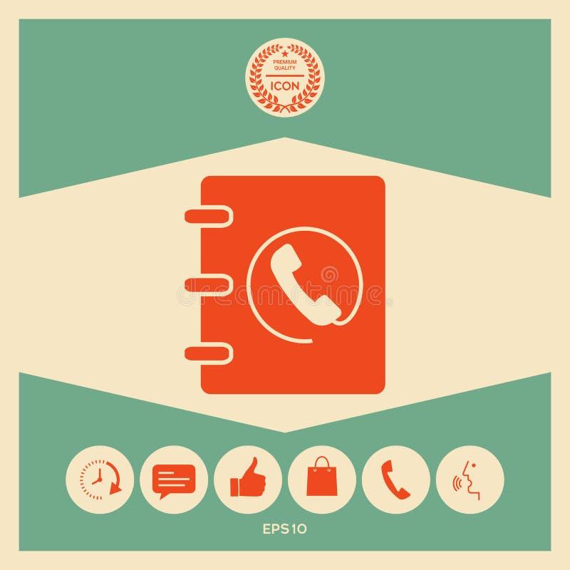 Notatnik, adres, telefon książki ikona z handset symbolem ilustracja wektor