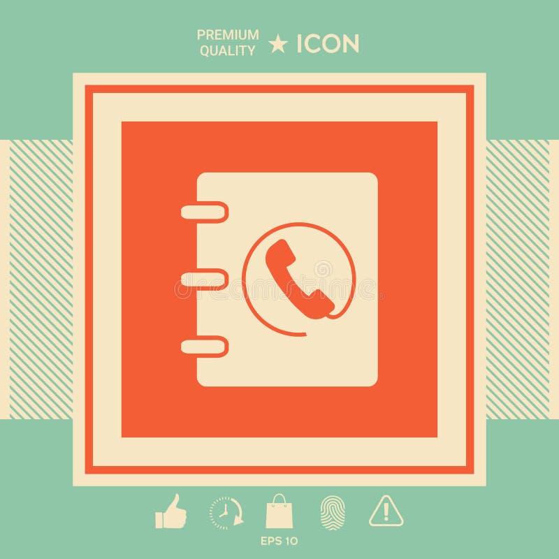 Notatnik, adres, telefon książki ikona z handset symbolem ilustracji
