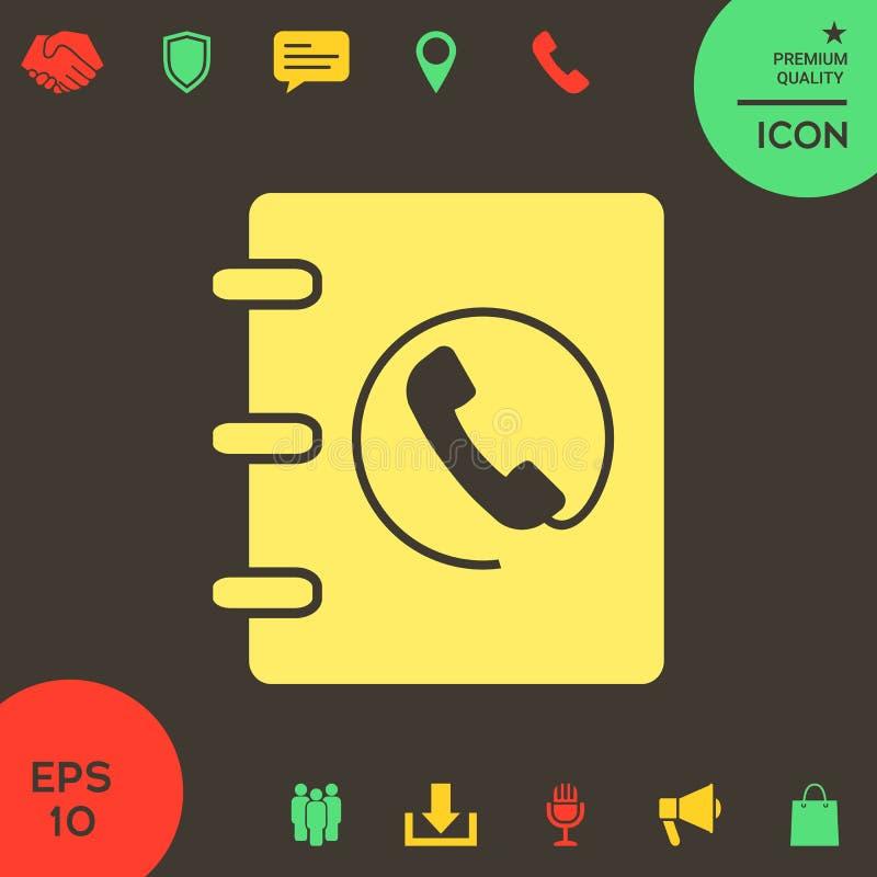 Notatnik, adres, telefon książki ikona z handset symbolem royalty ilustracja