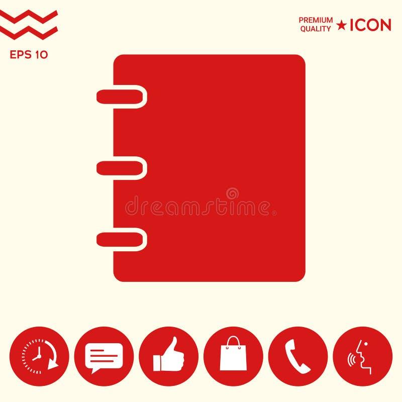 Notatnik, adres, telefon książki ikona z pustą pokrywą ilustracja wektor