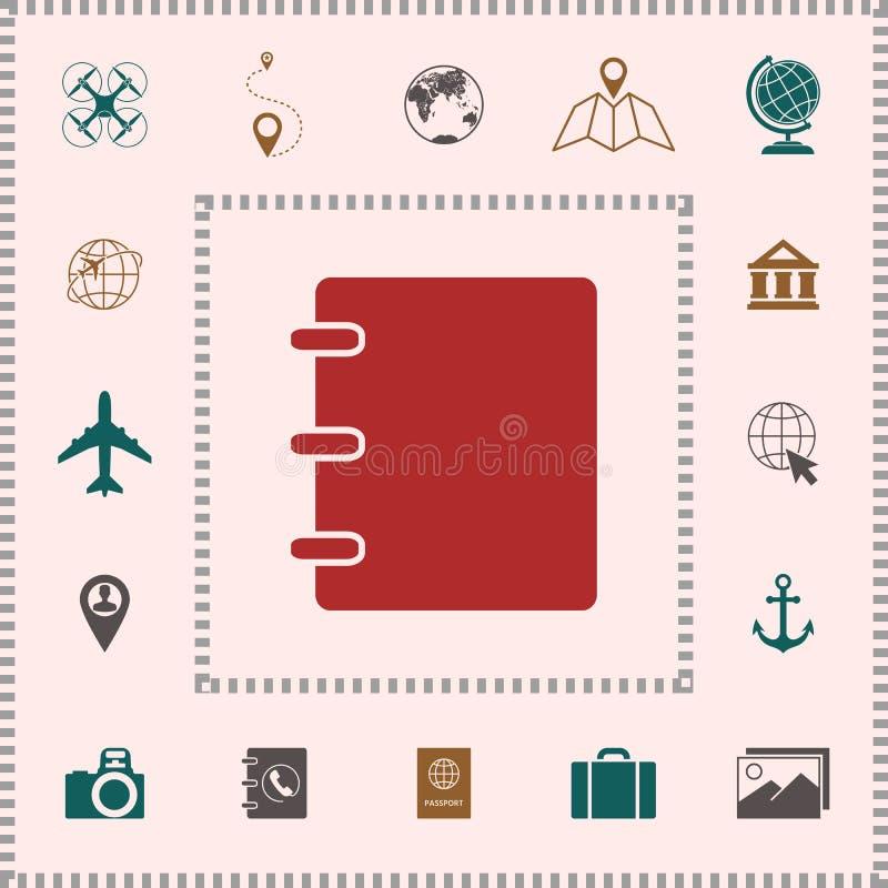 Notatnik, adres, telefon książki ikona z pustą pokrywą ilustracji