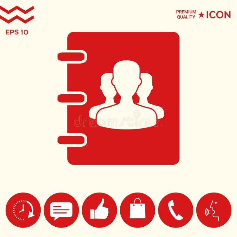 Notatnik, adres, telefon książki ikona z symbolem grupowi ludzie ilustracja wektor