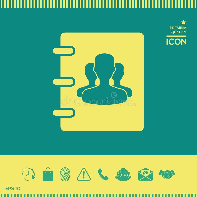 Notatnik, adres, telefon książki ikona z symbolem grupowi ludzie royalty ilustracja