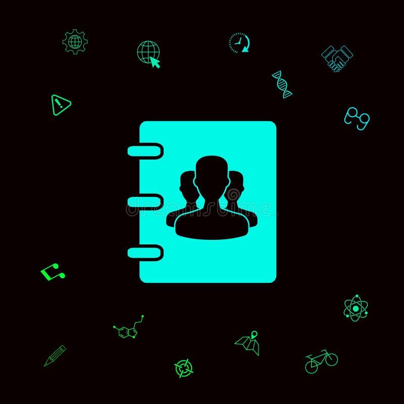 Notatnik, adres, telefon książki ikona z symbolem grupowi ludzie Graficzni elementy dla twój designt ilustracja wektor